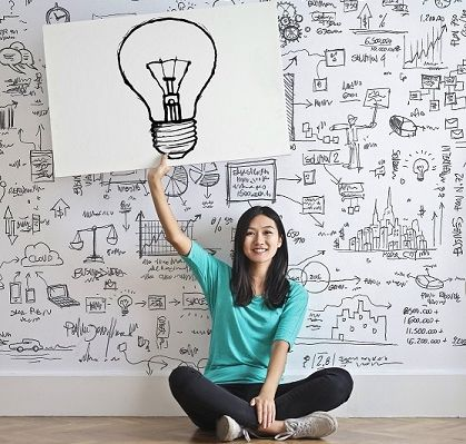Woman Draw A Light Bulb In White Board 3758105